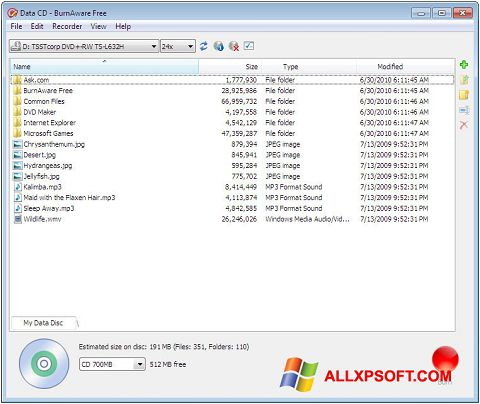 Screenshot BurnAware Free Windows XP