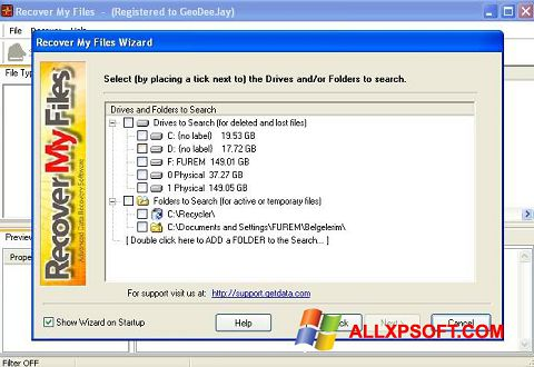 Screenshot Recover My Files Windows XP