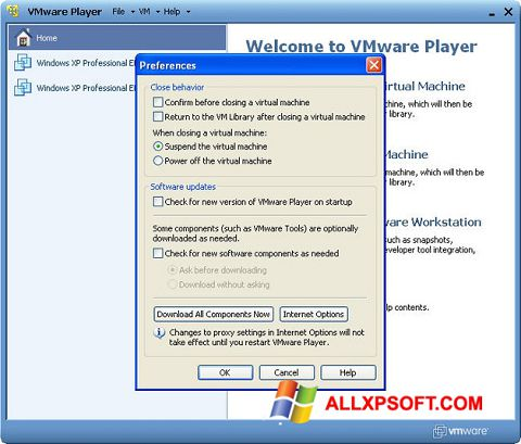 Screenshot VMware Player Windows XP