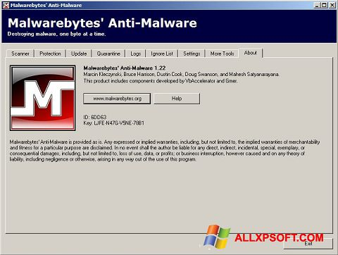 Screenshot Malwarebytes Anti-Malware Free Windows XP