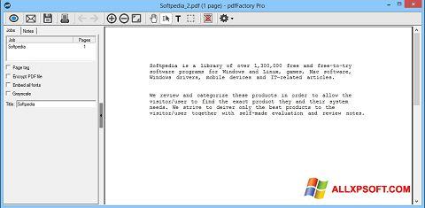 Screenshot pdfFactory Pro Windows XP