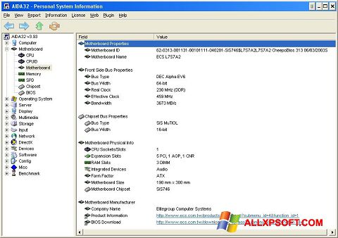 Screenshot AIDA32 Windows XP