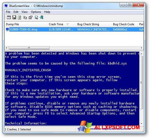 Screenshot BlueScreenView Windows XP