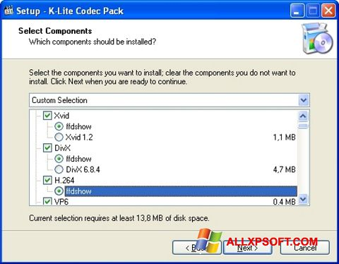 Screenshot K-Lite Codec Pack Windows XP