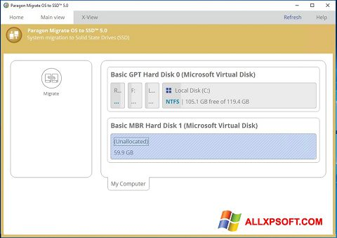 Screenshot Paragon Migrate OS to SSD Windows XP