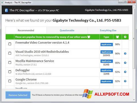 Screenshot PC Decrapifier Windows XP