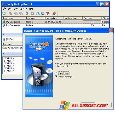 Screenshot Handy Backup Windows XP