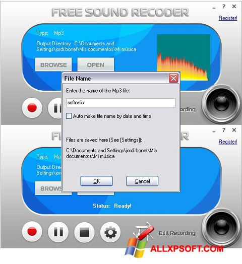 Screenshot Free Sound Recorder Windows XP