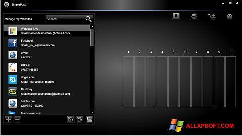 Screenshot HP SimplePass Windows XP