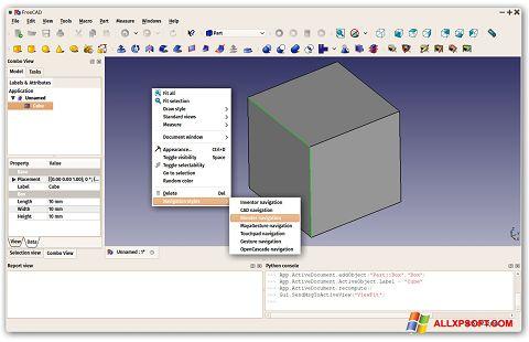 Screenshot FreeCAD Windows XP