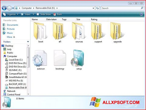 Screenshot Windows 7 USB DVD Download Tool Windows XP