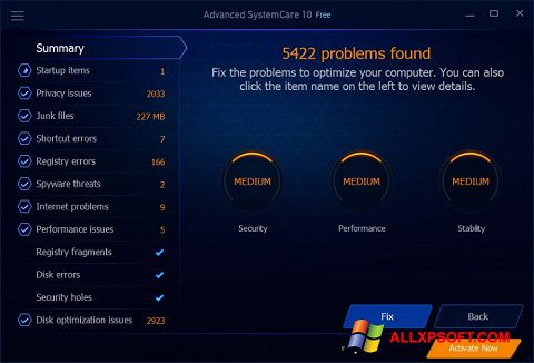 Screenshot Advanced SystemCare Free Windows XP