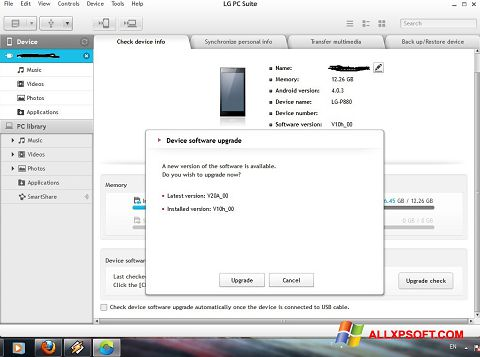 Screenshot LG PC Suite Windows XP
