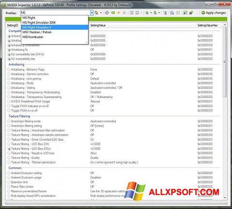 Screenshot NVIDIA Inspector Windows XP