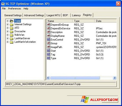 Screenshot TCP Optimizer Windows XP