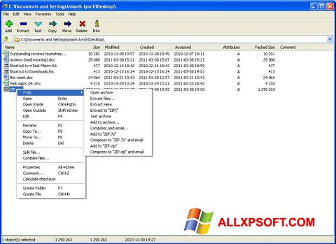 Screenshot 7-Zip Windows XP